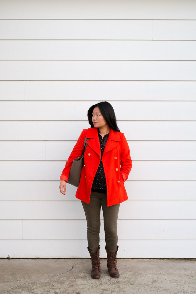 Old Navy orange coat, Old Navy maternity skinny jeans, Steve Madden combat boots