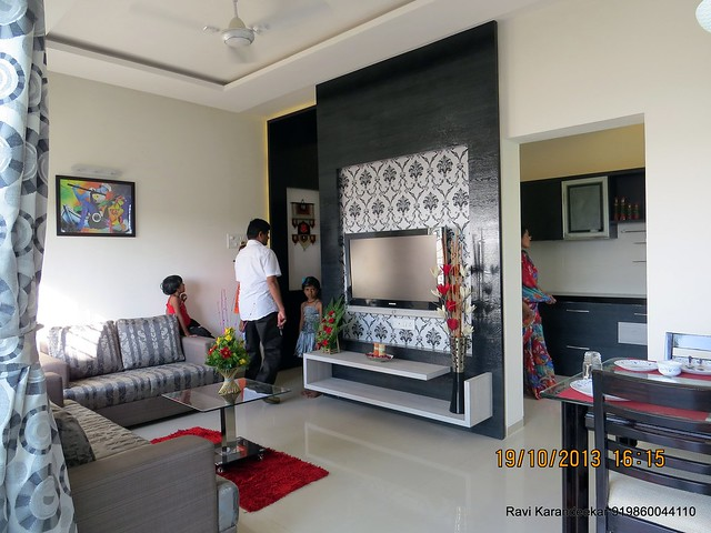 Living cum dining visit 2 bhk show flat of vastushodh for 1 bhk flat interior decoration image