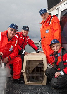 (From left to right) Mike Allert, Ty Tabor, Jim Neff and Shirley Allert, members of Coast Guard Auxiliary Flotilla-12 in Edmonds, Wash., pose aboard the Allerts' vessel, The Glimfeather, with a harbor seal pup they helped release back into the wild near Everett, Wash., Sept. 25, 2013. It was the second time the Allerts had volunteered to assist the Progressive Animal Welfare Society in releasing a rehabilitated harbor seal. Photo courtesy of Kevin Mack.