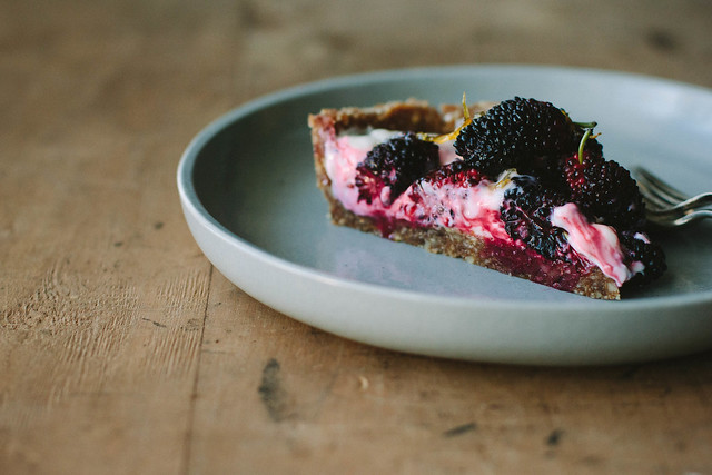 mulberry, lemon yoghurt tart {grain-free}