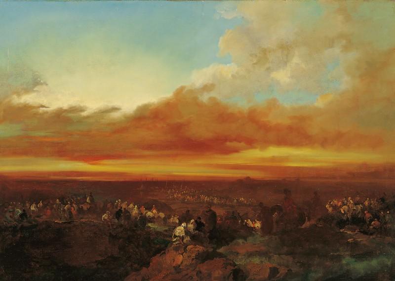 Eugenio Lucas Velázquez - Arab Caravans Arriving at the Coast (c.1860)