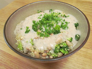 Rice and Broccoli with Lemony White Bean Suace