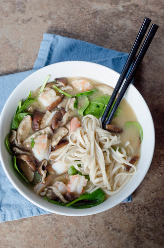Pink Parsley: Mushroom-Miso Soup with Shrimp and Udon Noodles