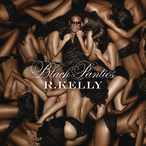 The album cover of Black Panties, in which R Kelly is surrounded by writing young women