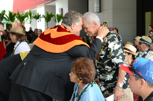 <p>Hundreds of people attended the  opening ceremony of Hale'ōlelo, including dignitaries from the Hawaiian community, University of Hawaiʻi and local and state governments, including Governor Neil Abercrombie.</p>