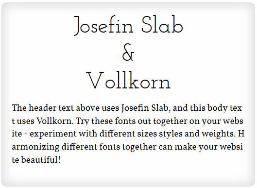 Josefin Slab and Vollkorn