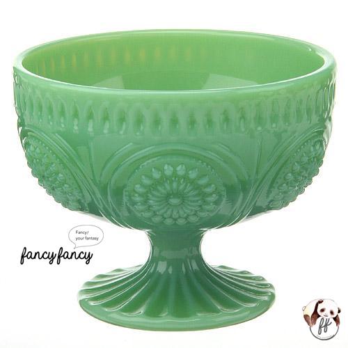 61.歐式仿古翠綠玻璃甜點水果杯(四個一組)