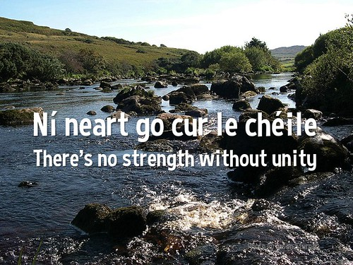 Irish Proverb: Ní neart go cur le chéile = There is no strength without unity = No hay fuerza sin unidad