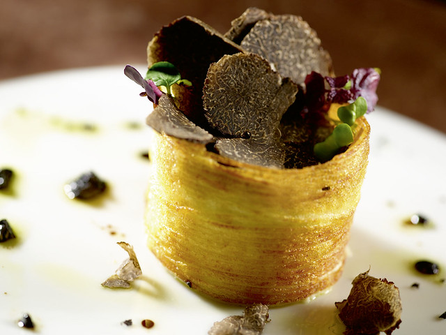 Potato black truffle croustillant with brown butter