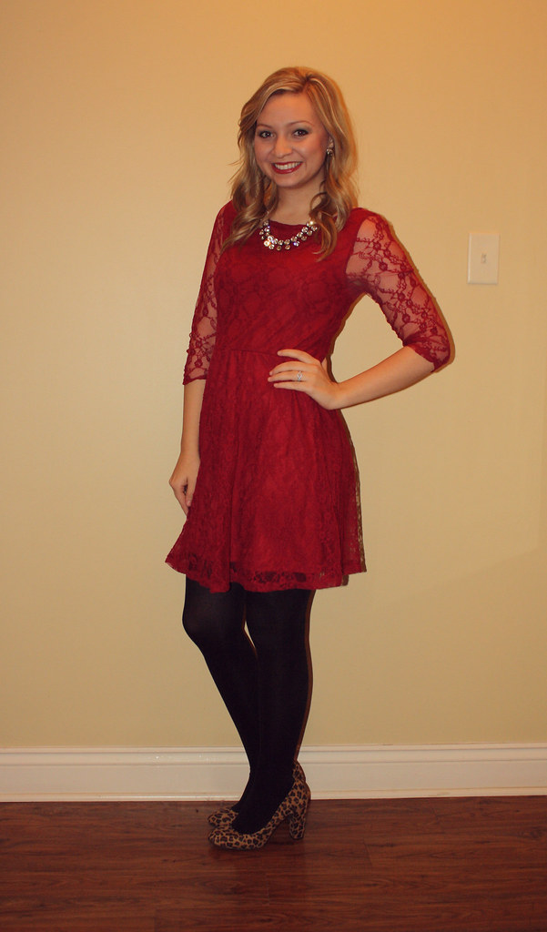 IMG_9149, red dress, lace dress, leopard heels, thrifted dress, goodwill