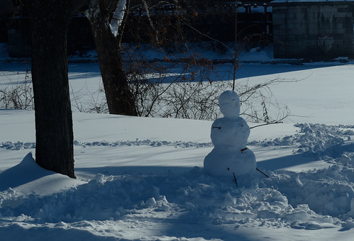 Snowman in the shadows