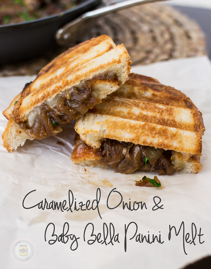 CARAMELIZED ONION AND BABY BELLA PANINI MELT