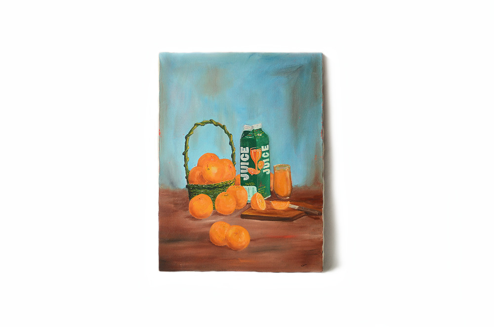 Vintage Oranges and Orange Juice Still Life Stretched Canvas