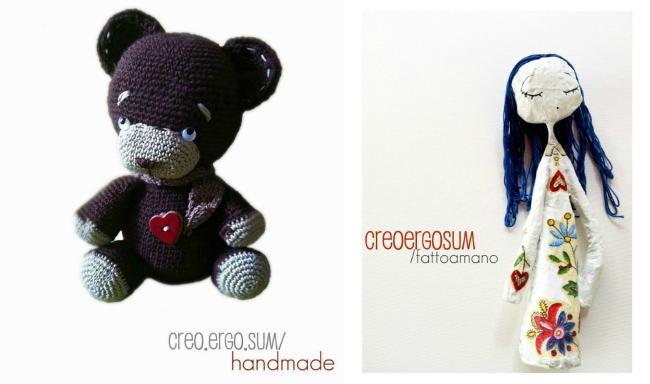 negozio handmade, giorgia creo ergo sum, carta pesta, collane amigurumi, cuscino crochet, collaborazione a little market