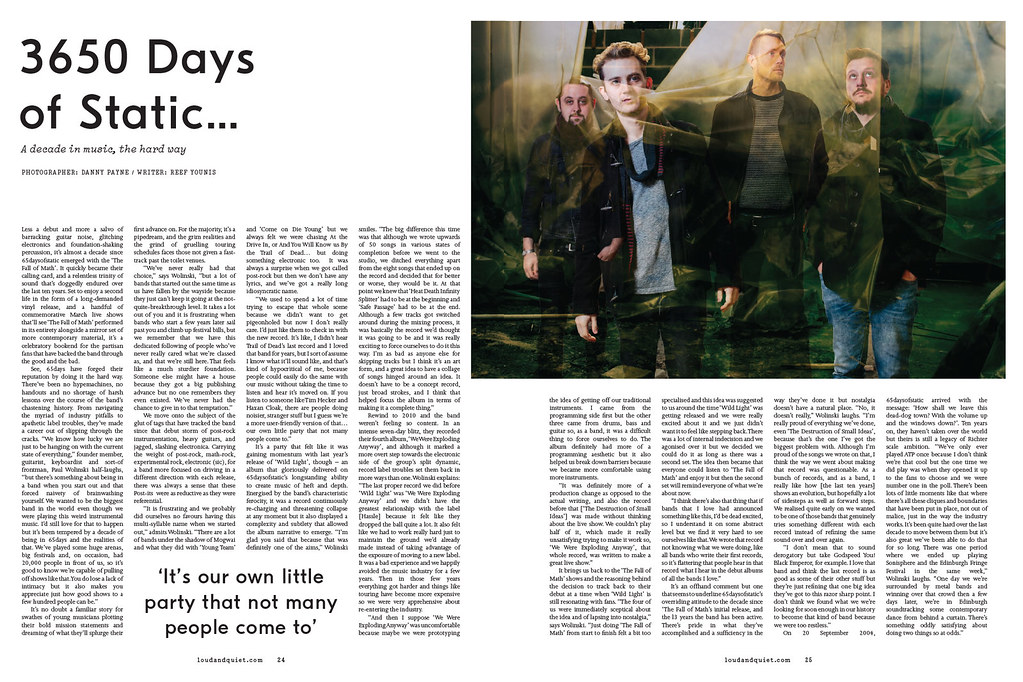 65 Days Of Static // Loud And Quiet Magazine, March 2014