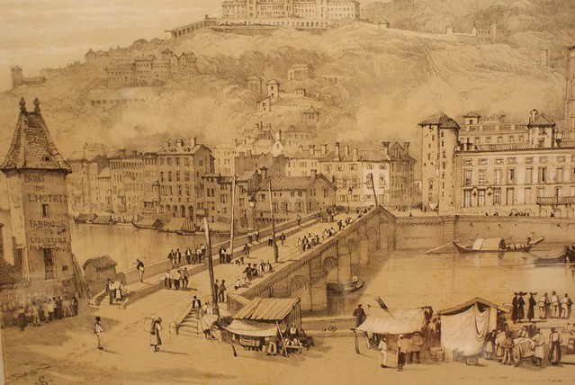 Pont de l'Archevêché à Lyon vers 1807 dans la prolongation de Bellecour en direction de Saint Jean.
