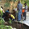 The students of the garden class plant at Haiti Communitere
