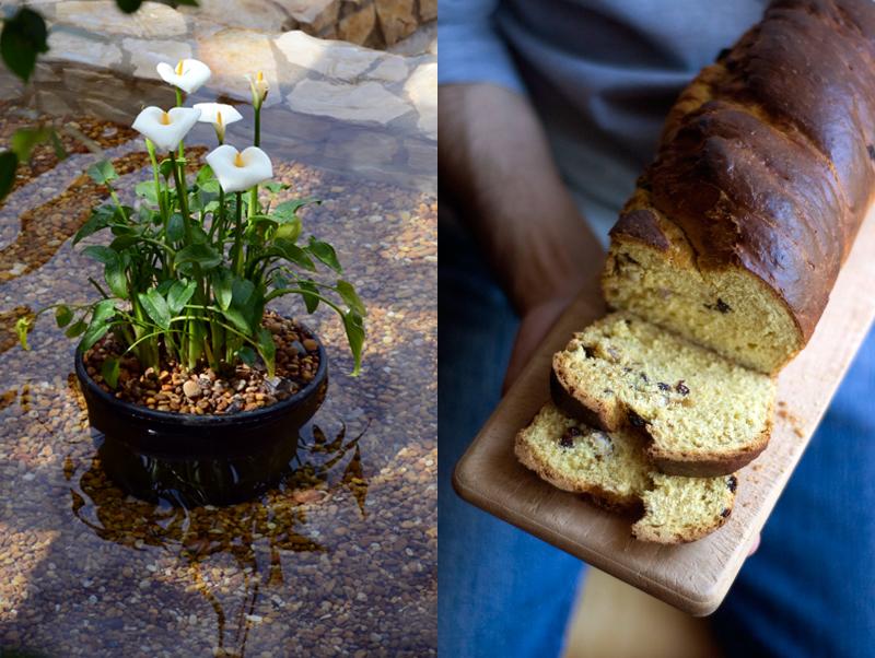 Pão de especiarias, passas e avelãs