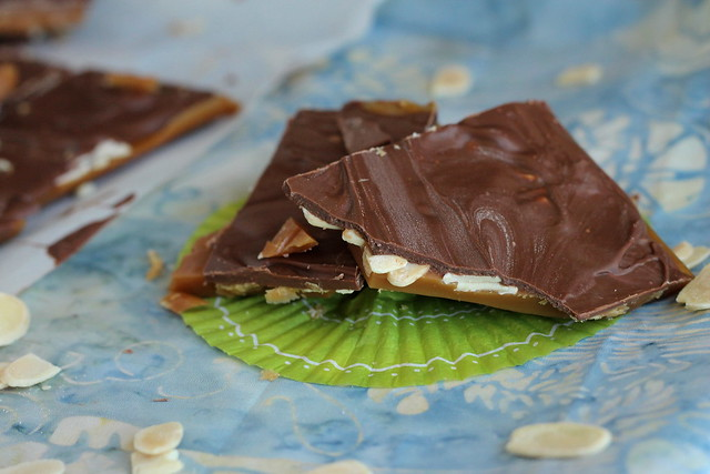 Homemade milk chocolate toffee candy