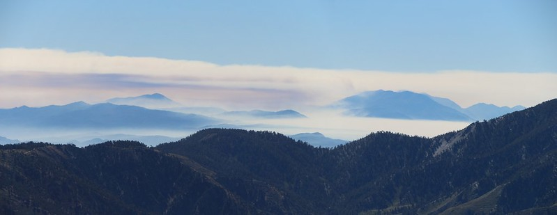 Zoomed-in view of smoke clouds on San Gorgonio Mountain as the Lake Fire rages.