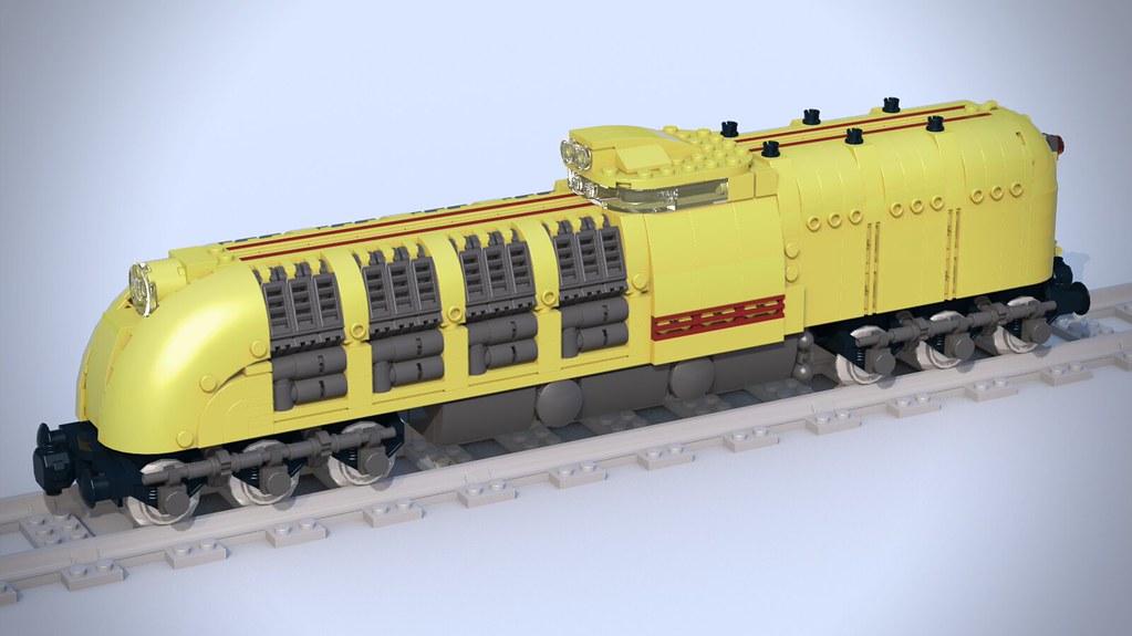 Retrofuturistic locomotive heavy