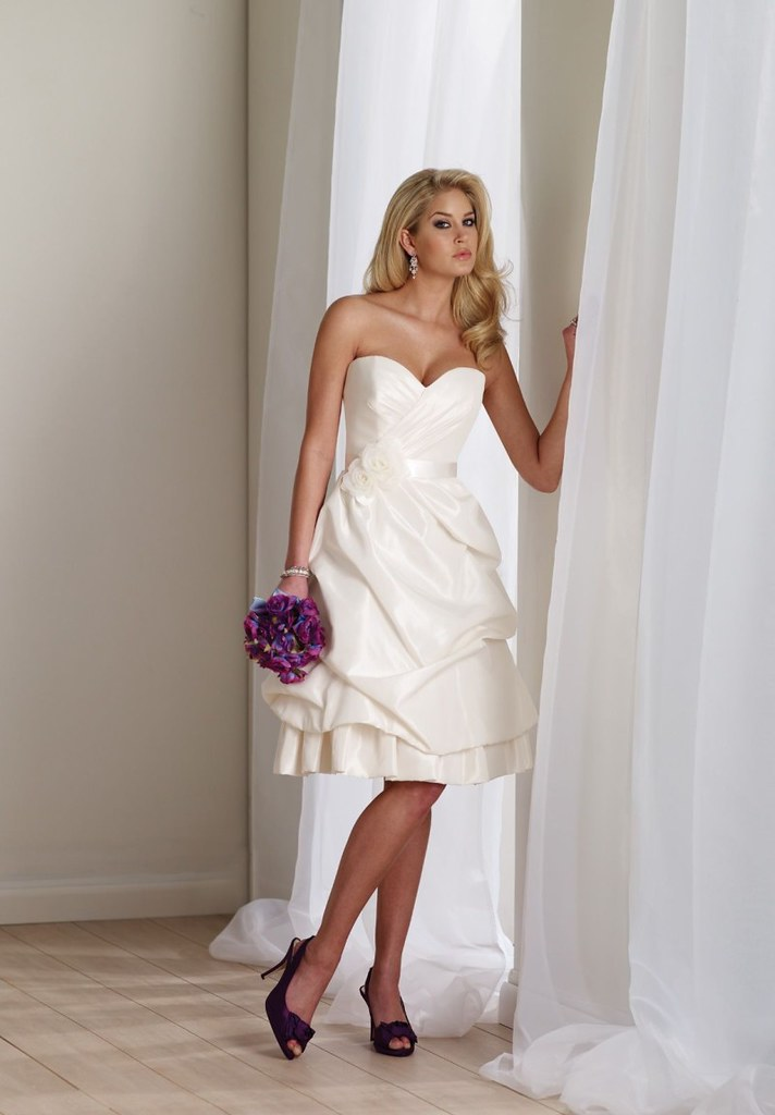 taffeta strapless sweetheart a line simple wedding dress