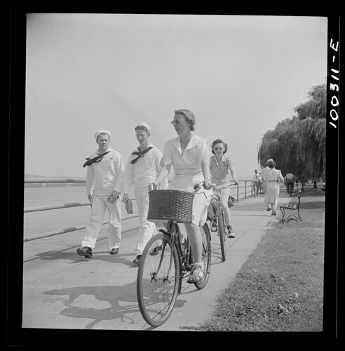 Bicycling on Haines Point, 1942