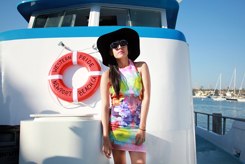 Mirrored Daisy Scuba Skater Halter Dress, On a Promise House of Holland Sunglasses, Lily Platform Sandals, Whale watching Newport Beach on joellenlove.com