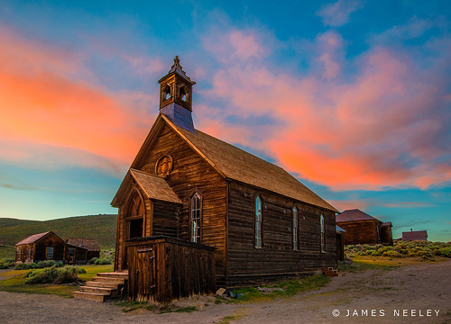 The Old Bodie Church at Sundown by James Neeley