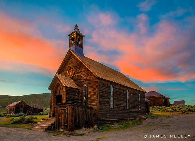 The Old Bodie Church at Sundown