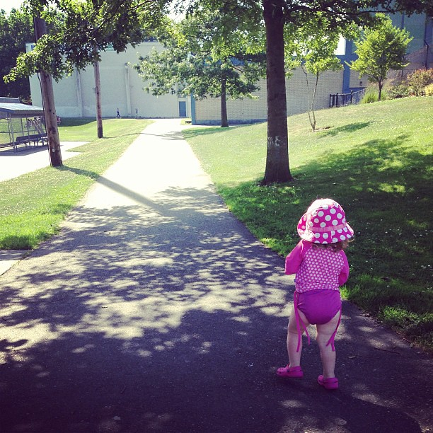 Path #fmsphotoaday Molly on the path to swimming lessons.