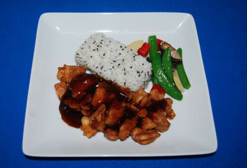 Sichuan Chicken with Black Sesame Rice and Wok Vegetables