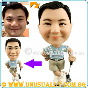 Custom 3D Slim Male Golfer Mini Figurine - @www.unusually.com.sg