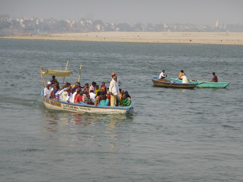 Motor-driven ferries at Varanasi like these are banned in the 7-km sanctuary stretch