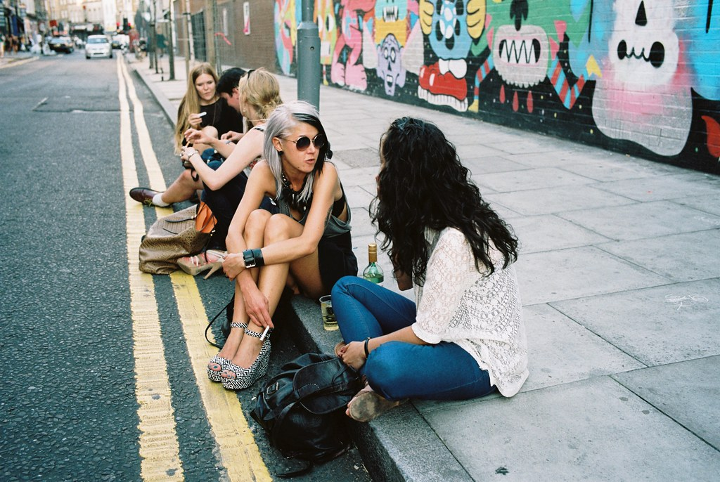 First Thursdays August 2013 - five girls sitting, Redchurch Street, Shoreditch