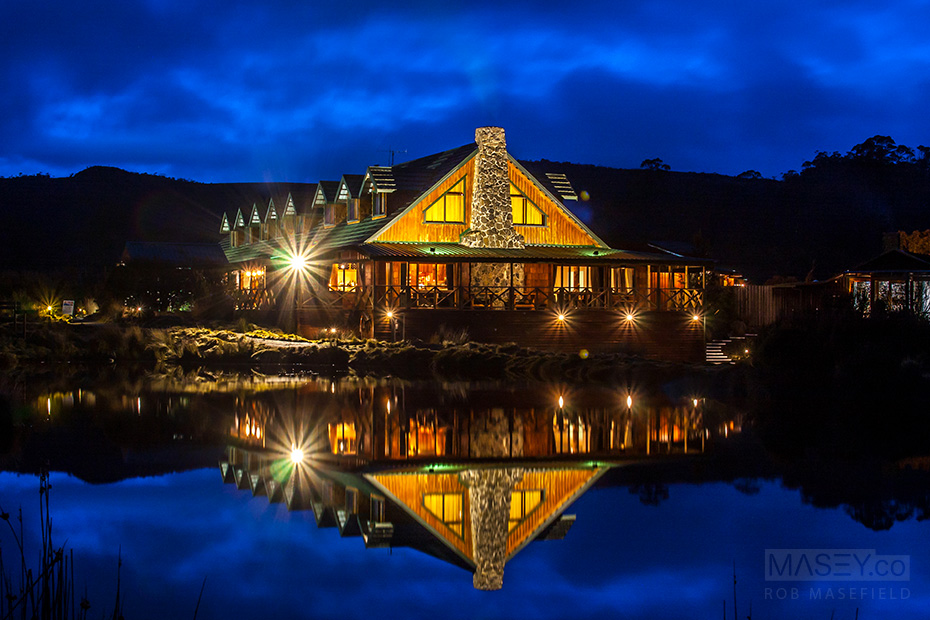 The majestic Peppers Cradle Mountain Lodge at dusk.