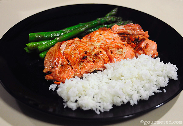 Browned sous vide salmon with asparagus and rice