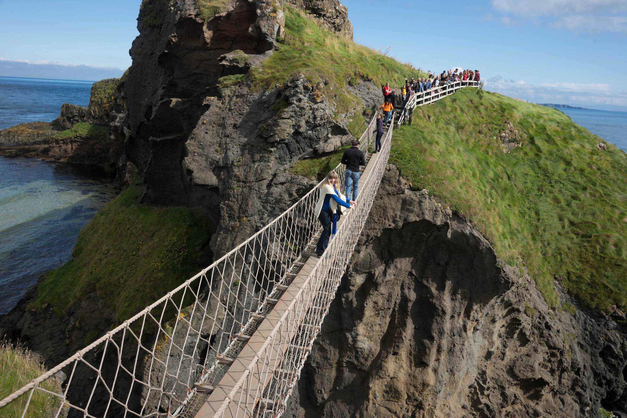 Cynthia on The Carrick-a-Rede Rope Bridge