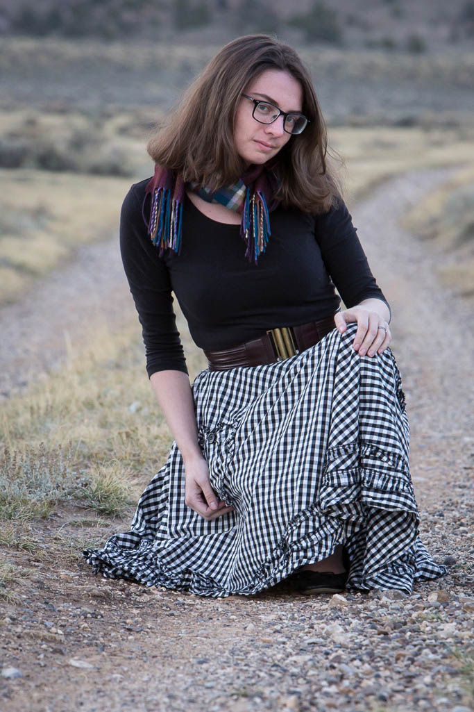 gingham skirt, modcloth, hell's bunny, scarf, winter, fall,