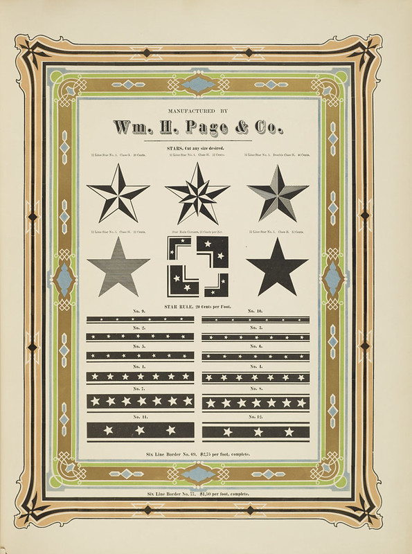 Specimens of chromatic wood type, borders 1874 - [via Columbia U] (stars + star borders)