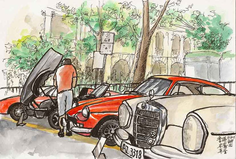 Sketching at a Classic Car Show in Central