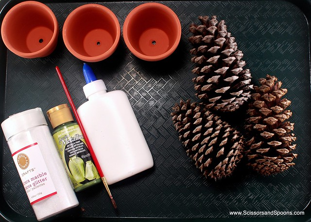 Supplies for pine cone Christmas tree craft
