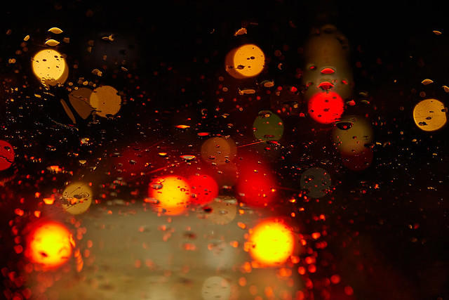 rainy evening traffic jams
