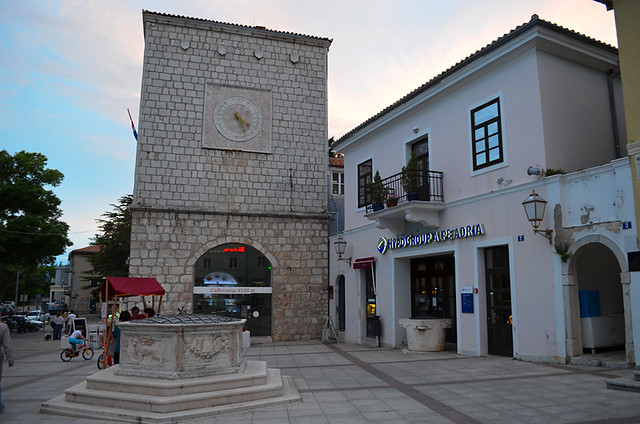 Main square and well, Krk, Croatia