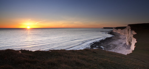 park sunset sea england cliff white sisters downs sussex chalk south cliffs east national seven