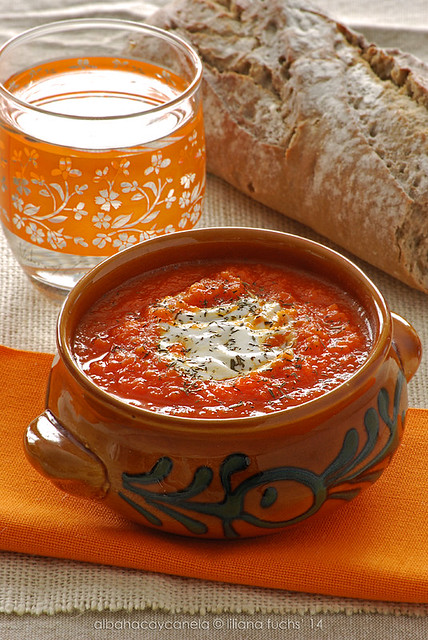Carrot tomato soup with fresh ginger