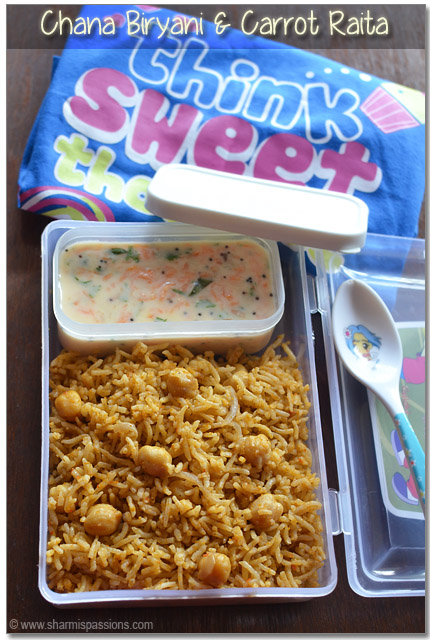 Kids lunch box recipe idea6 chana biryani carrot raita sharmis chana biryani carrot raita forumfinder