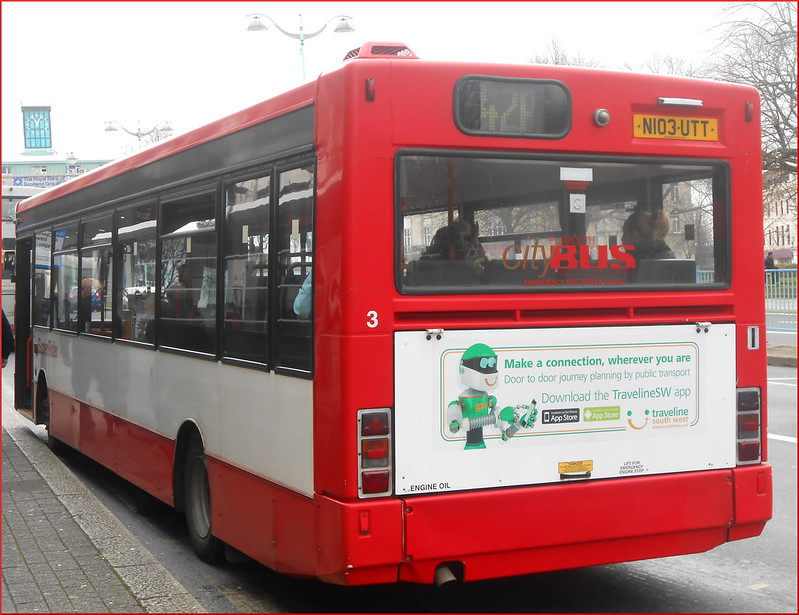 Plymouth Citybus SLF 3 N103UTT loads on a 42A on her last ever day of service.