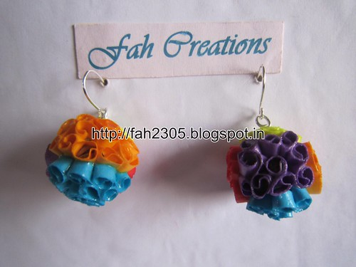 Handmade Jewelry - Beehive Quilling Paper Globe Earrings (Big) by fah2305