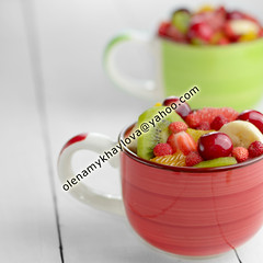 Cups with fruits